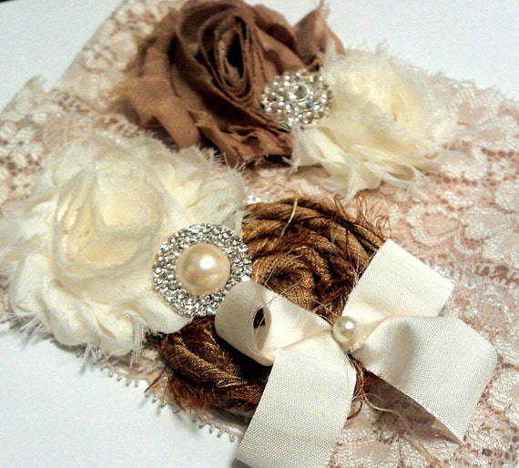 Bridal Garter Set Lace Garter Set Wedding Garter Set Brown Garter Set Neutral Garters Silk Garter Pearl Garter Set
