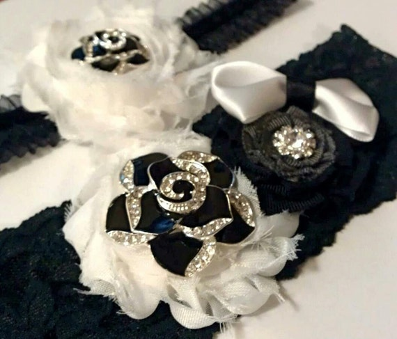 Black and White Garter Set Bridal Garter Set Bridal Accessories Wedding Garter Set Lace Garter Set Flower Garter Set