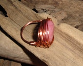 Copper ring pink rhodonite