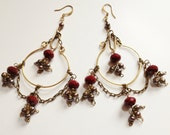 Arabic Earrings gold  fresh water pearls red ruby quartz