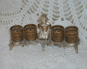 Vintage Lipstick Holder Figural center filigree gold brass metal- marked - SALE