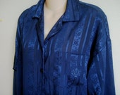 Vintage Nightgown Night Shirt Christan Dior navy Lingerie L XL