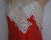 Vintage SILK Nightgown baby Doll Victoria's Secret RED lingerie M