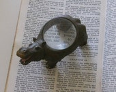 Vintage Hippo Magnifying Glass paperweight dome magnifier animal figure