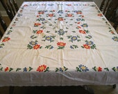 Vintage tablecloth white cotton embroidered flowers mod bights 60X48