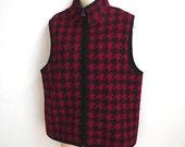 Vintage Wool Vest red black plaid check Lumberjack logger  L SALE