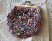 Vintage beaded Change Purse 1940s unique colorful buttons & beads