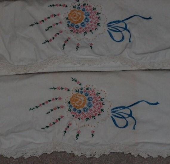 Vintage pillowcases set embroidered crochet trim cotton standard size