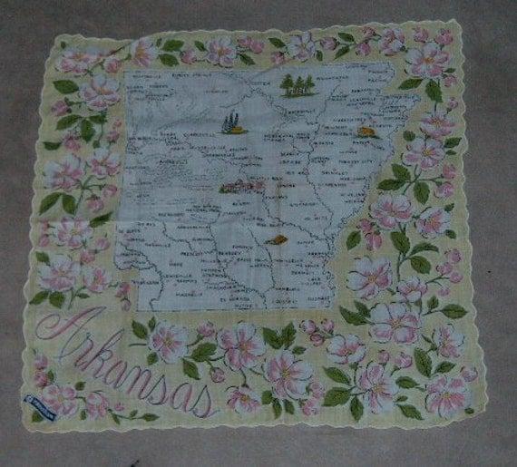 Vintage State Handkerchief Franshaw Hankie w/label  Arkansas