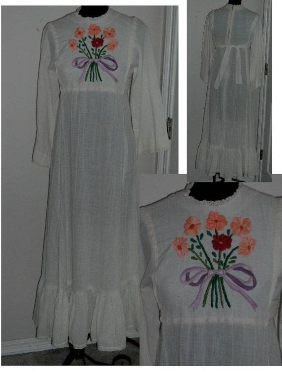 Vintage Dress Boho Hippie Cotton Gauze Embroidered peasant
