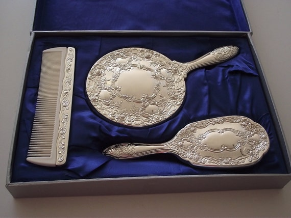 Towle Silverplate Dresser Vanity Set Mirror Comb By