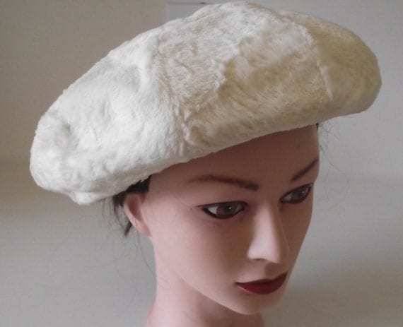 Vintage Ladies hat white fur beret Lilly Dache SALE