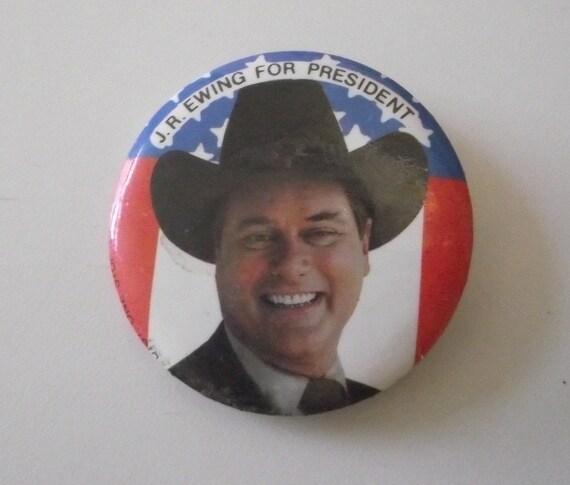 Vintage Pinback Pin JR Ewing for President Dallas Larry Hagman