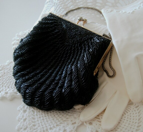 Vintage Beaded Purse evening bag black shell design seed & bugle beads