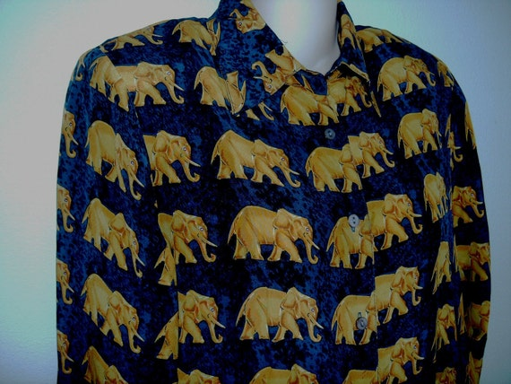 Vintage 80's SILK Shirt  African Elephant Print navy & gold S