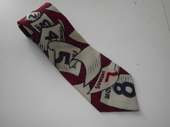 Vintage Necktie Tie The Beatles Eight days a Week  music calendar silk