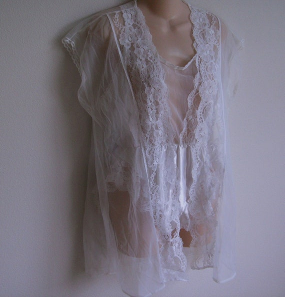 Vintage peignoir lingerie teddi & robe bridal white lace L XL