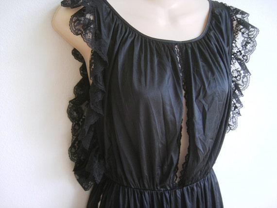 Vintage peignoir nightgown lingerie sexy slit black beauty M L XL