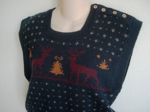 Vintage sweater vest Nordic reindeer navy blue M