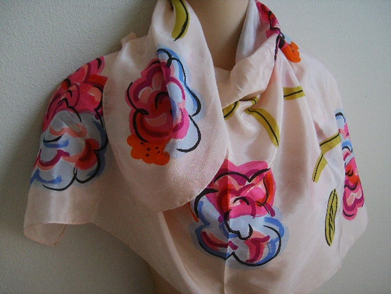 "Vintage Silk Scarf retro mod boho flowers on pink 31"" square"