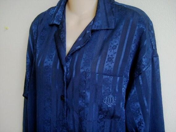 Vintage Nightgown Night Shirt Christan Dior navy Lingerie L XL