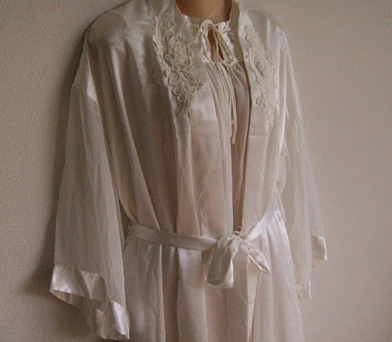 Vintage Nightgown Robe Peignoir bridal white L XL