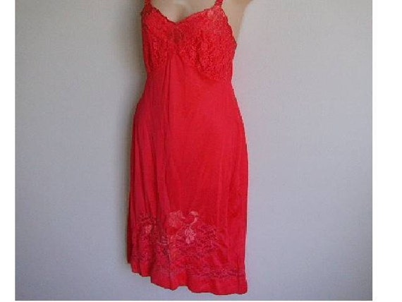 Vintage full slip RED fancy appliqued lace 60's madmen lingerie 36 M SALE
