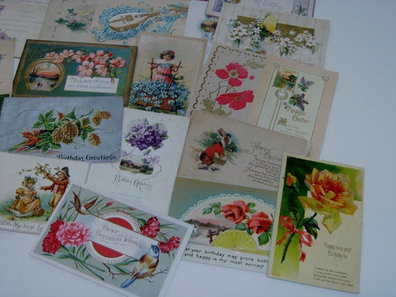 40 Antique Postcard Greeting cards Lot early 1900's embossed Germany & US