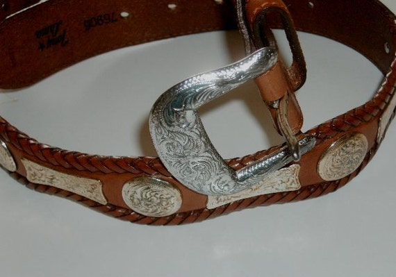 Vintage Belt Tony Lama Leather & Silver Concho country western cowboy