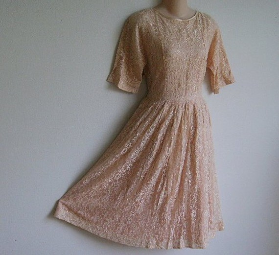 Vintage Dress 1940's  peach pink lace swing style Upcycle or repair a seam