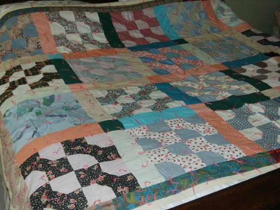 Vintage Handmade Quilt Hand Knotted Bow Tie  Pattern 70x88  twin full