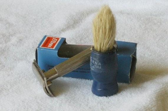 Vintage Shaving Brush  Blue wood handle natural pure bristles NOS
