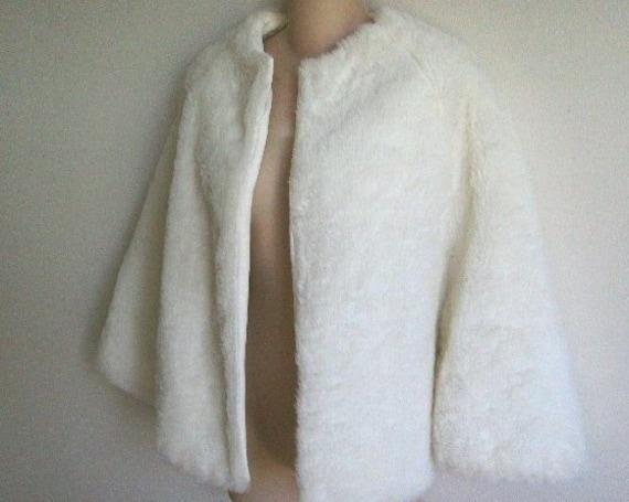 Vintage fur Cape Jacket white faux fur SALE
