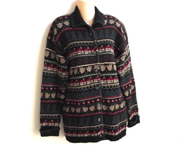 RESERVED-Vintage cardigan sweater school house  winter Nordic Ski  XL SALE