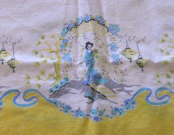 Vintage pillowcase muslin cotton asian geisha yellow & white
