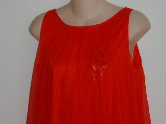 Vintage nightgown red chiffon layers Gaymode lingerie S M