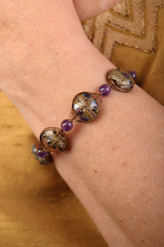 Copper Bracelet Amethyst Beads