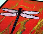 "Quilted fiber art, dragonfly thread sketch on Thai marbled paper, 8""x10"""