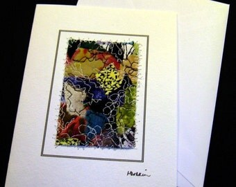 Fiber art notecard, quilted abstract design