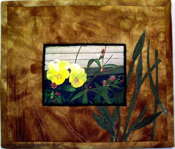 SALE Quilted art, appliqued flower photo printed on fabric, free-motion stitched, hangs from ribbon tab