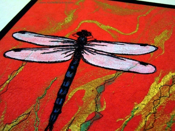"""Quilted fiber art, dragonfly thread sketch on Thai marbled paper, 8""""x10"""""""