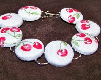 Cherry Button Bracelet