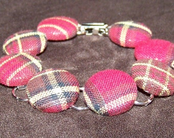 Red Plaid Button Bracelet