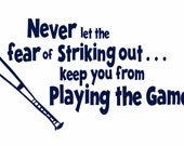 "Baseball Wall Decal Never Let The Fear Of Striking Out Vinyl Wall Decal for Girl Boy Athletics Sports Quote Saying16""Hx30""W Wall Art FS0149"