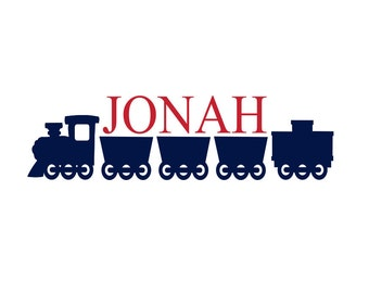"Train Vinyl Wall Decal Personalized Name Wall Decal for Boy Baby Nursery or Boys Room 12""H x 36""W Wall Art"