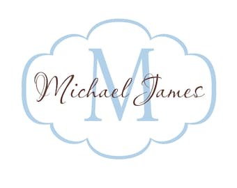 Baby Name Wall Decal - Name and Initial Vinyl Decal Personalized with  Monogram for Girl Boy Baby Nursery Script 22Hx30W FS054