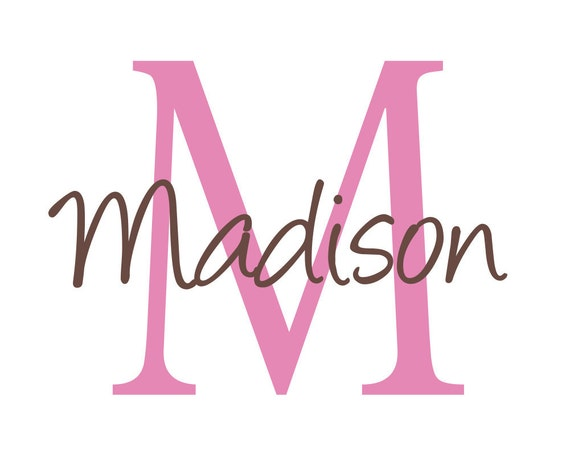 Name Wall Decal - Vinyl Name and Initial Decal Personalized with Monogram for Girl Boy Baby Nursery Script 22Hx22W FS035