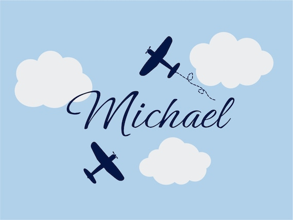 "Airplane Wall Decals - Airplane Cloud and Personalized Name Vinyl Wall Decal for Boy Baby Nursery or Boys Room  22""H x 36""W Wall Art FS106"