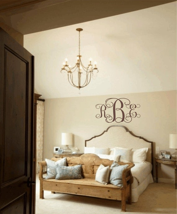 Items similar to master bedroom wall decal personalized initial monogram vinyl wall decal Master bedroom plus nursery