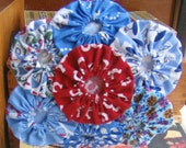 SUPER SALE- 1930's Inspired Yoyo Fascinator Headband - Blues and Red